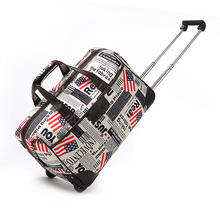 Offset printing newspaper newsprint pattern trolley attache travel bag, lady roller wheeled carry on case holdall duffel bag
