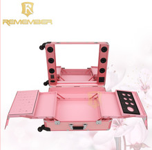 aluminium alloy makeup case professional portable cosmetics case with stand leg