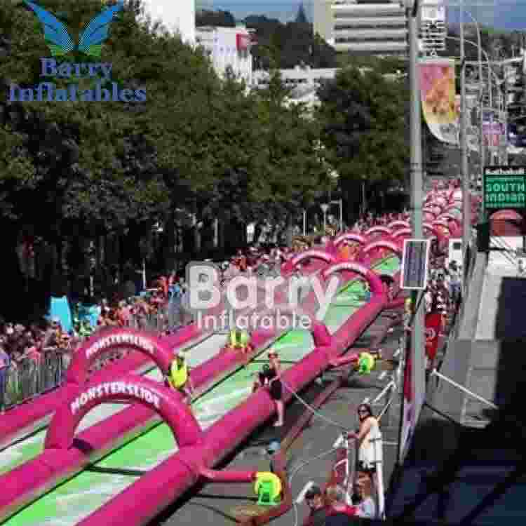 Commercial inflatable wet slide n slip , street slide , pink slide the city China