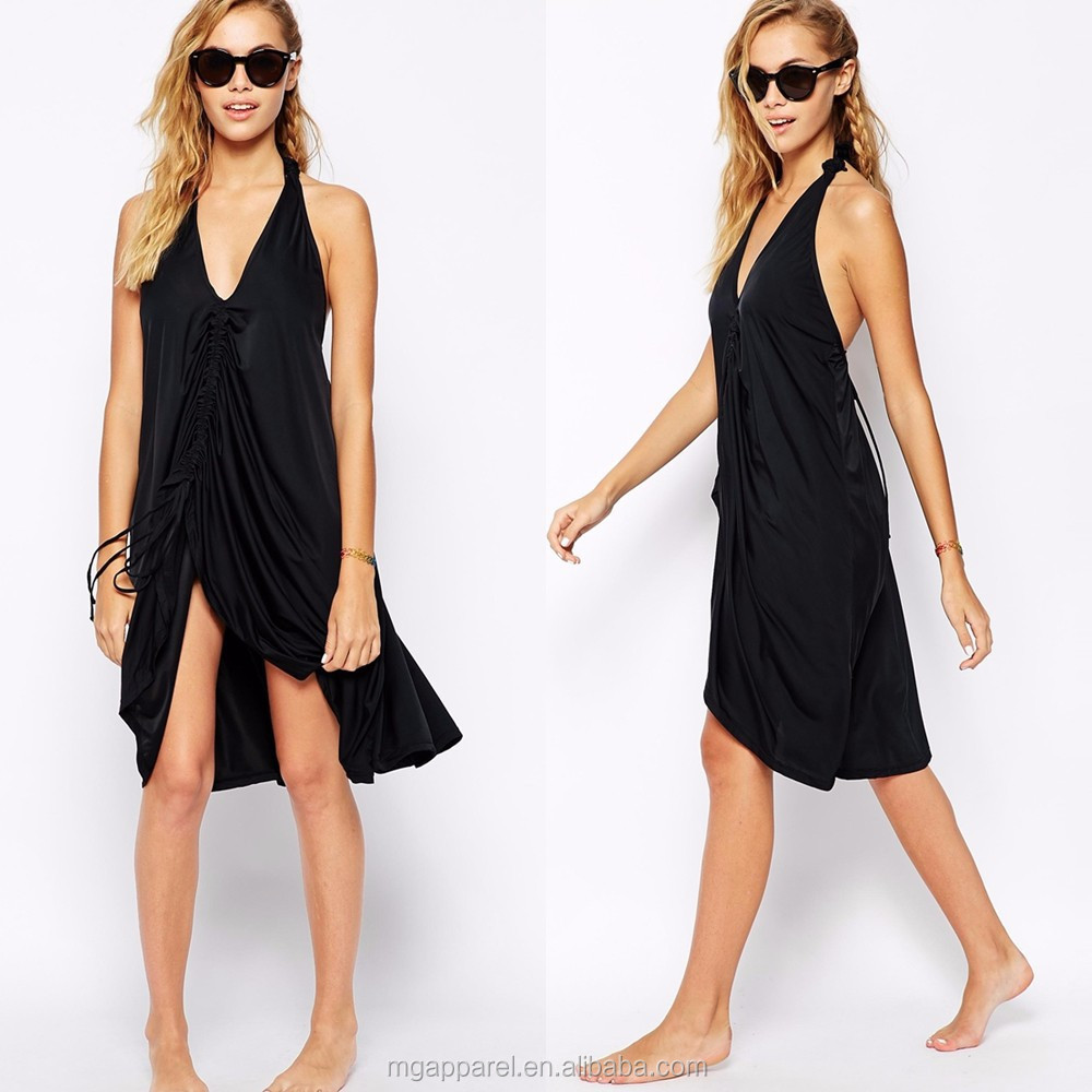 Wholesale black casual dress for beach party women summer dress 2017