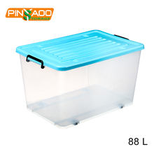 88L Transparent Plastic Storage Containers Square Handle Food Storage Organizer Boxes With Lids