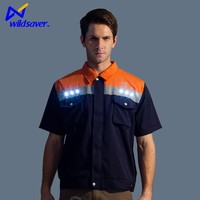reflective factory LED light work safety work vest clothing with pockets