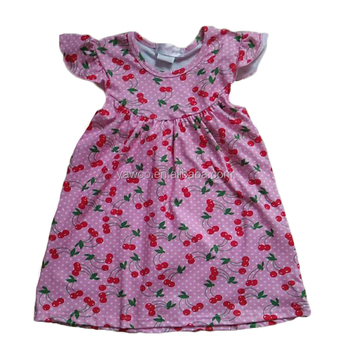Yawoo cherry patterns pearl dress girls clothes online latest kids dresses for girls