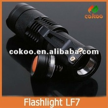 LF7 7W Wholesale Price Rechargeable LED Torch Black/Silver Color Can Use AA Battery High Lumen Q5 LED Bulb