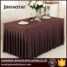Satin Fabric china wholesale Crocheted 100% polyester hotel table skirting