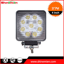 "2016 super bright auto led work light 27w led work light 4"" square led work light waterproof 27w off road trailer"