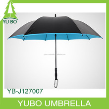 fiberglass golf umbrella with shoulder strap bag, solid color automatic ptrotection backpack umbrella