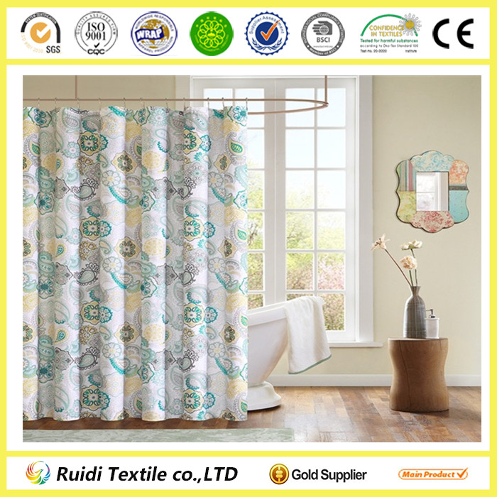 High Quality Luxury 100% Cotton Printed Bathroom Curtain