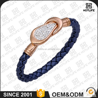 Fashion Women Style Zircon Cuff Charm Bracelet Ip Plating Stainless Steel Genuine Leather Rose Gold Bracelet