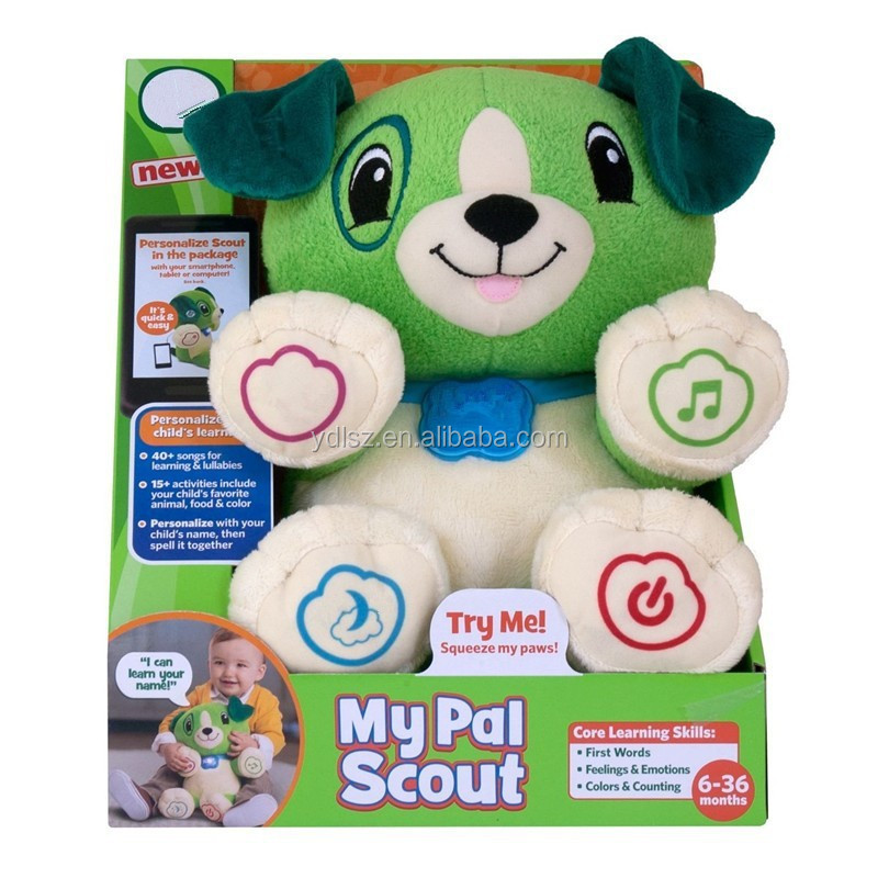 Interactive intelligence talking dog toys,battery operated singing dog musical plush toy for kids