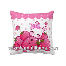 pink strawberry cushion cover Kawaii flocked pillow case