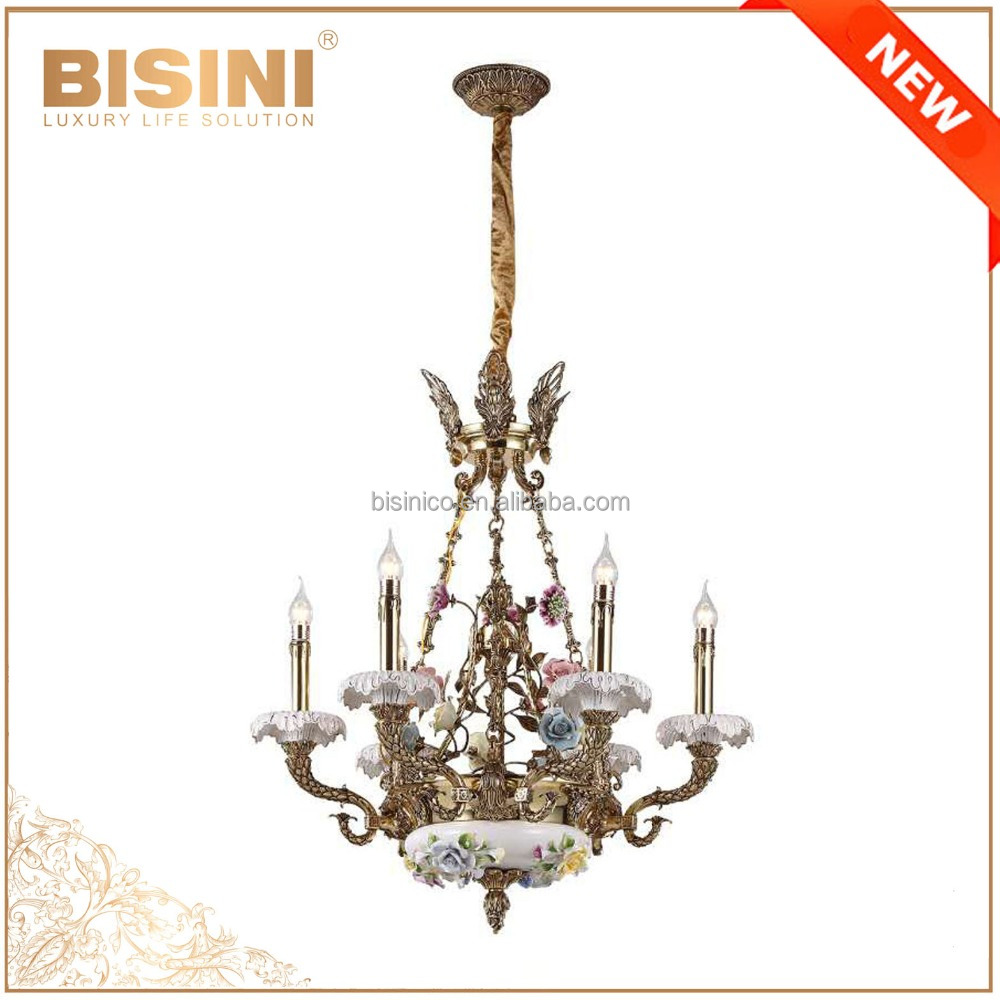 French Rococo Style Porcelain Flower Chandelier With Antique Brass/ Elegant Bronze Ceramic Pendant Lighting For Home & Hotel