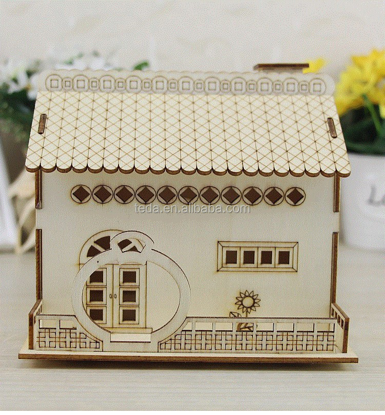 3D Wood Puzzle Wooden DIY Model House Money Bank Box Trinket MyWood