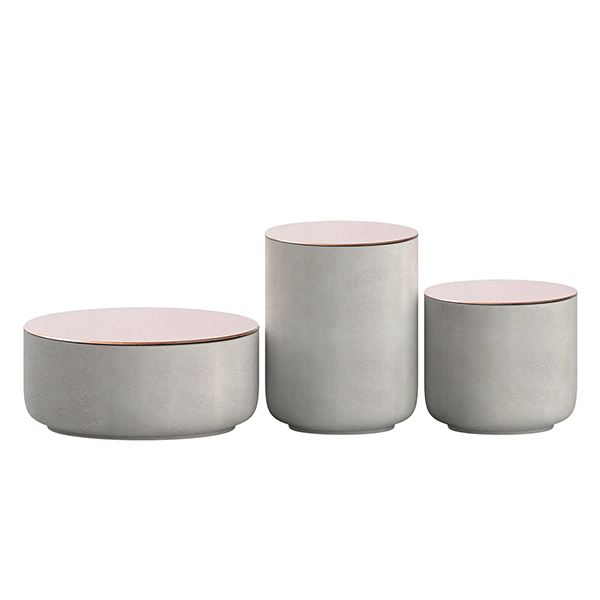 Designer Kitchen Canisters >> Natural Cement Color Concrete Airtight Canister With Copper Lids / Glass / Stainless Lids - Buy ...