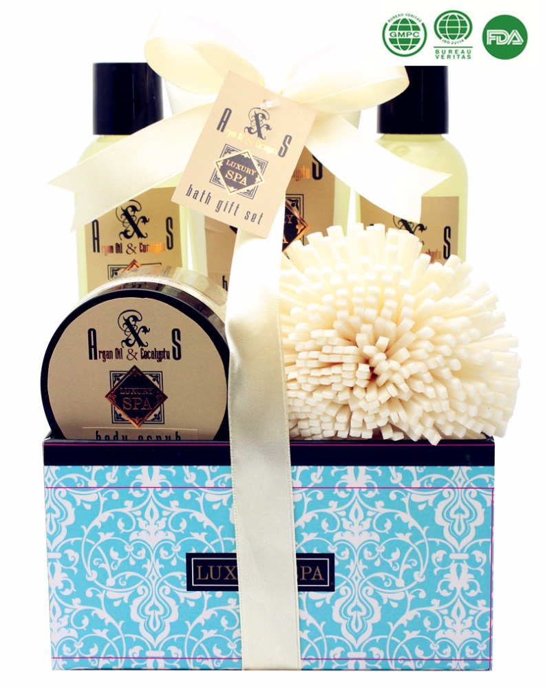 Luxury SPA Body Wash Set Shower Gel Bath Salt Bath Fizzer in Paper Rope Basket