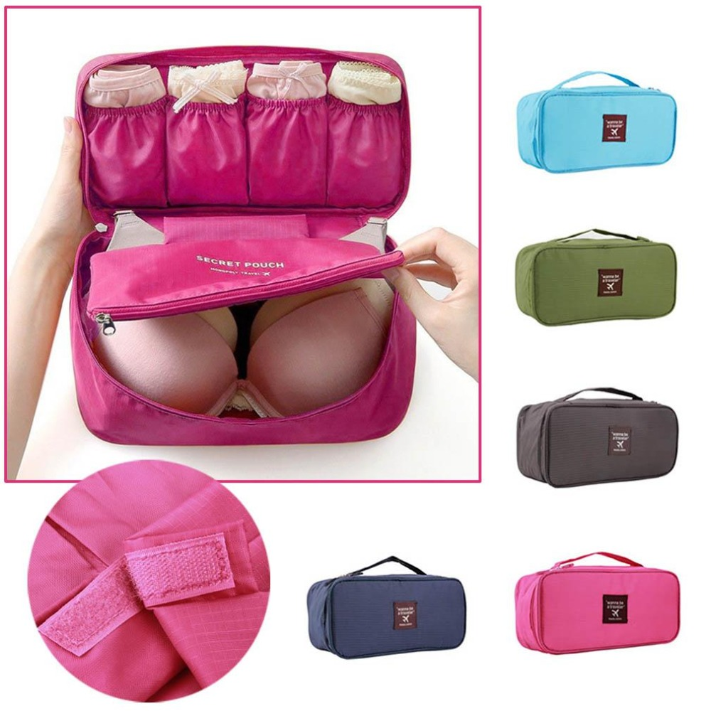 RUN HUI Wanna be a Traveler Portable Bra Underwear Lingerie Case Travel Organizer Bag Storage wardrobe organizer Waterproof