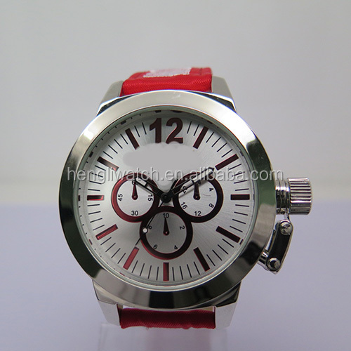 Fashion mens quartz watch with 50mm bigger case & nylon+leather strap with hand-made embroidery