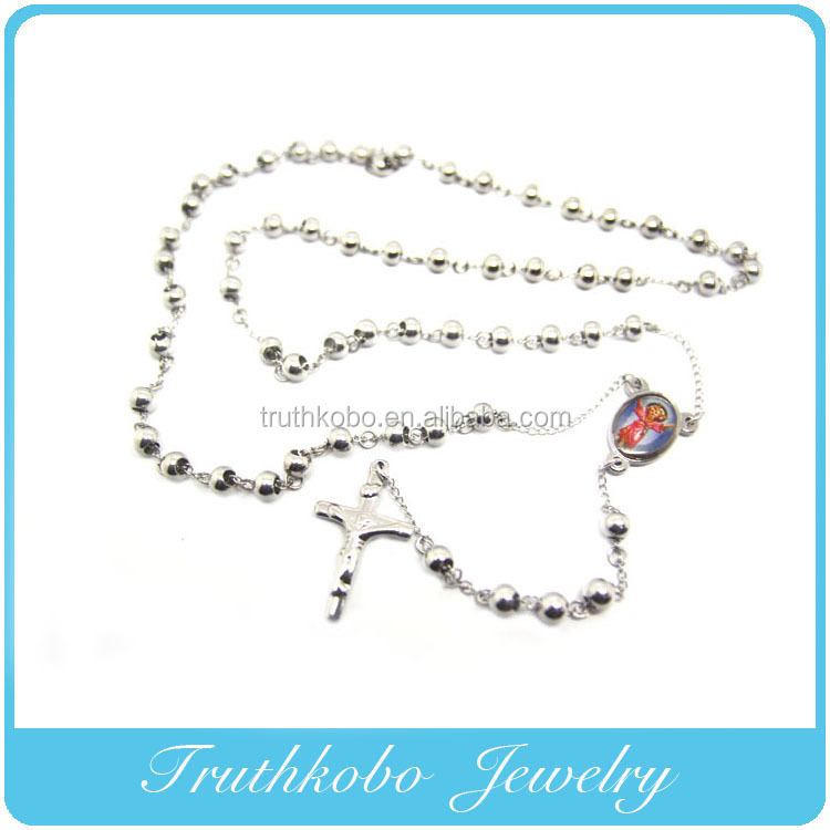 Best Selling Religious Jewelry for 2014 Stainless Steel Holy Mother Maria Religious Jesus Cross Rosary Necklace jewelry