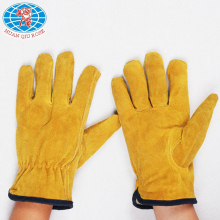 yellow mens cowsplit leather driver truck Driving Welding Gloves