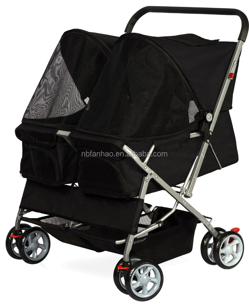 Black Twin Carriage , Sport Pet Pushchair Stroller 4-Wheel, Dogs and Cats Double Storller