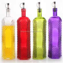 1L vintage colored Glass Oil Jar personalized household oiler condiment bottles