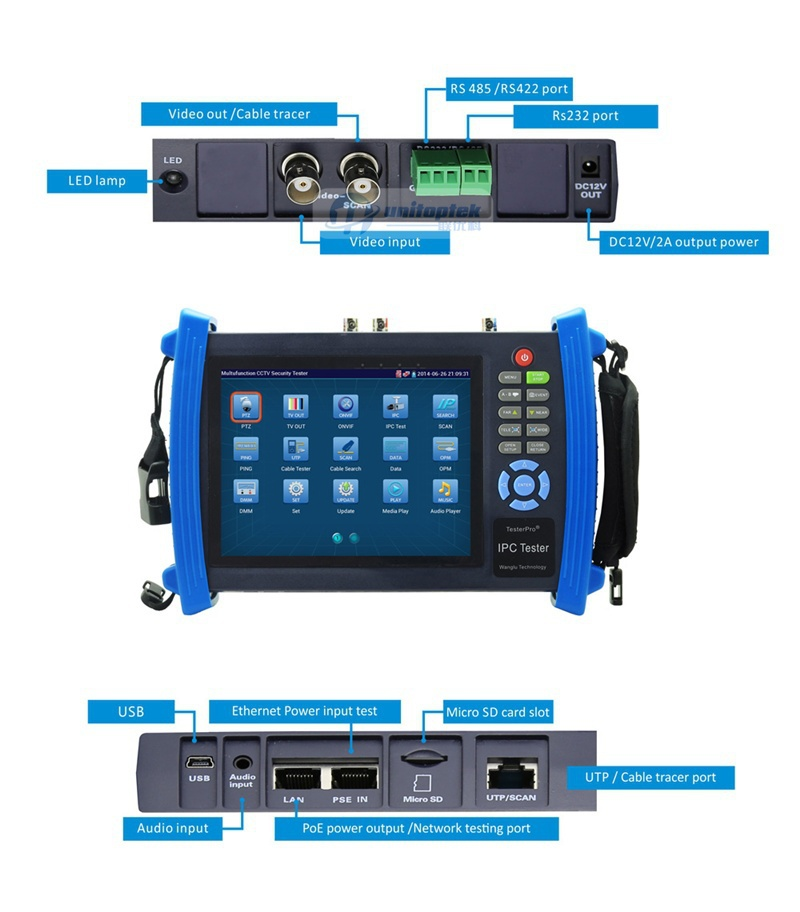 CCTV Camera Tester With 7 inch Touch Screen Multifunction Onvif IP Camera POE Power Wifi UTP Cable CCTV Tester