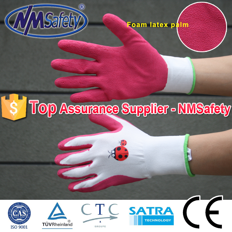 NMSAFETY white polyester liner coated rose red foam latex hand gloves garden gloves colorful