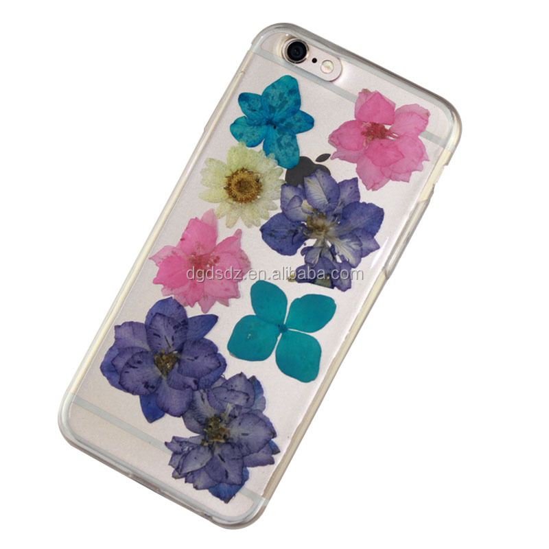Fashion factory custom transparent clear DIY real flower PC TPU mobile phone case hard case soft case for iPhone 6/6S