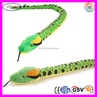 D532 Soft Green Snake Toys Animal Stuffed Sublimation Printed Patterns Plush Snake