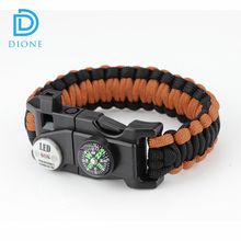Outdoor 20 in 1 EDC LED Paracord survival bracelet for SOS Emergency LED Bracelets Paracord