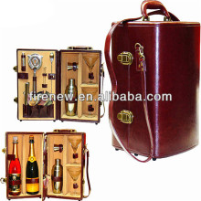 Luxury wooden 2 bottle gift box, wine box with wine glass, wine carrier with customize logo printing