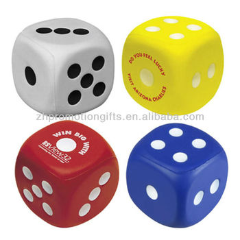 PU Stress Balls, 5.8cm dice stress balls, anti stress dice, promotional dice stress ball supplier