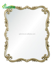 Hotel antique white color carved wall mounted wood frame mirror