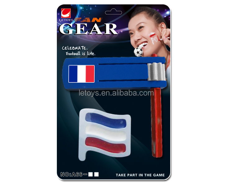 2016 Euro Cup fans French color rattle with 3 colors face paint/ football fans key ring with light