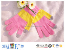 FUTIAN cheap sold girls' itouch screen knitted gloves winter warm pad phone daily life use