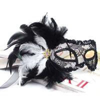 Venetian Masquerade Party Masks with Feather