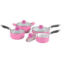 hot sell 2015 new item pink pots and pans set