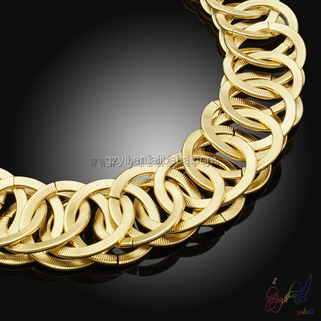 2015 the most popular jewelry set noble jewelry set golden circle rings chain jewelry set