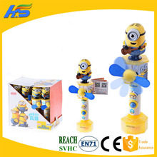 Small yellow minions candy toys handheld mini fan 13g sweets hot selling