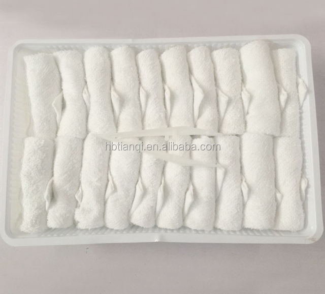 White 100% cotton airline hot disposable face towel