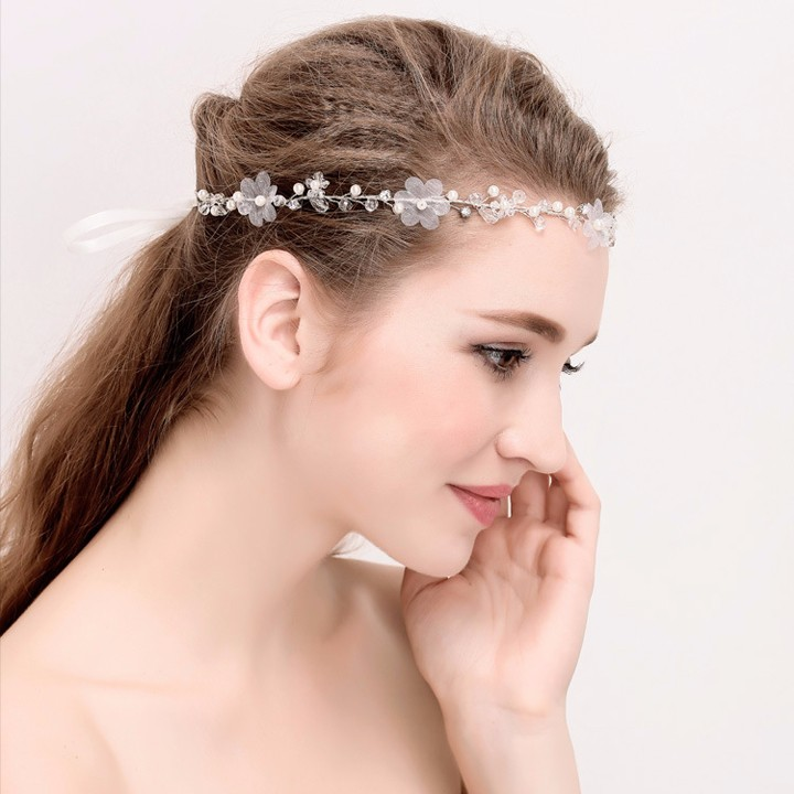 Vintage Forest Simple Flower and Crystal Fashion Headband Wedding Forehead Jewellery Bridal Headpieces