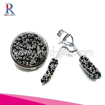 Nice Designs High-End Glitter Diamond Handmade Cosmetic Mirror With Eyerlash Curler