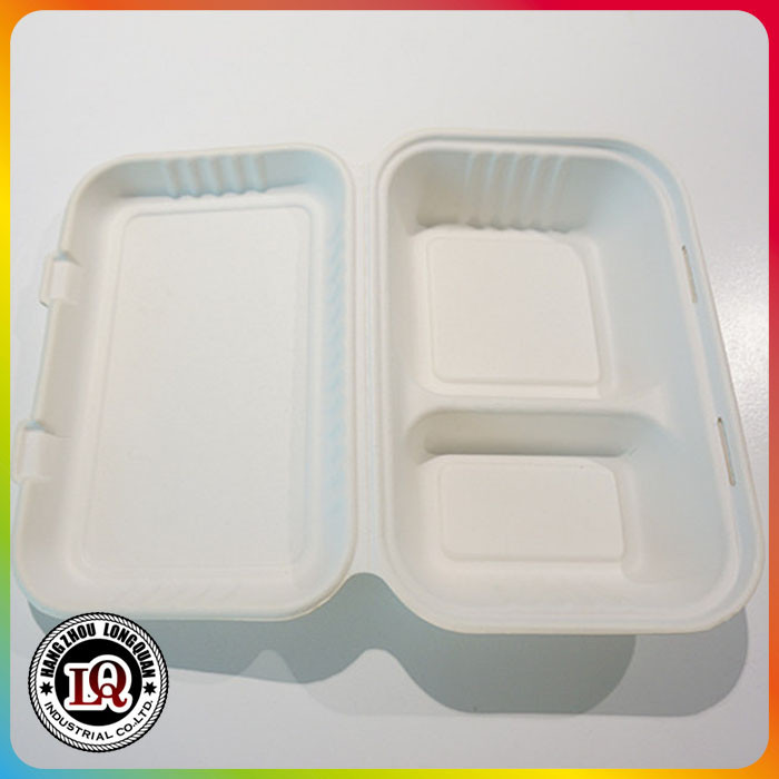 2 Compartments Disposable 1000ml Bagasse Biodegradable Dishware