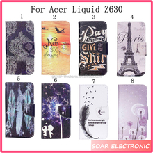 Wholesale custom painted leather case for Acer Liquid Z630,colorful designs patterns leather holster for Acer Liquid Z630