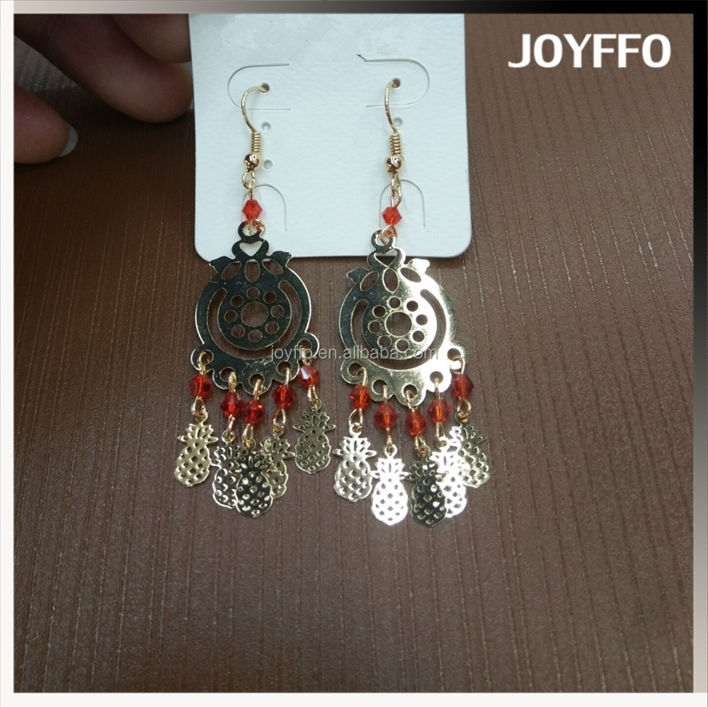 2017 fashion jewelry for women gold hollow tassel pineapple earrings