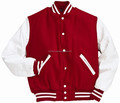 Red Wool and White Leather Sleeves Varsity Jacket , Baseball varsity Jacket , Customer Wool and leather Jacket