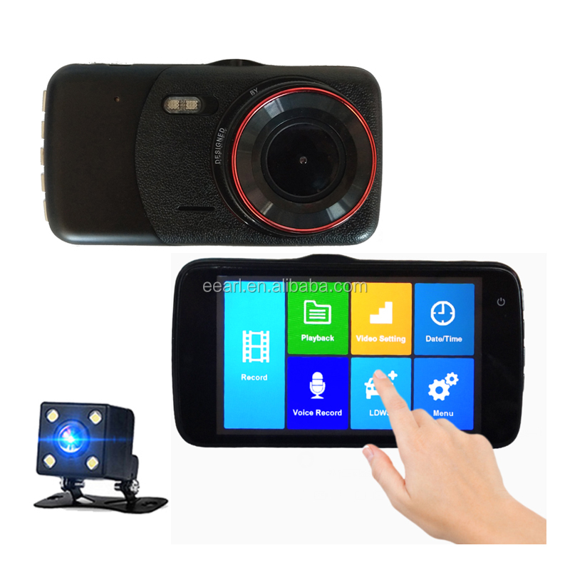 New 4 inch Touch screen dash cam dual lens dvr car camera with GPS