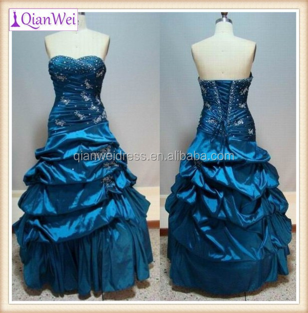 sapphire blue beaded embroidered taffeta ruched tiered skirts ball gown China factory supplier real sample pictures prom dress