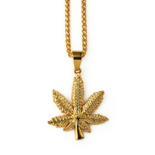 2016 new have stock china wholesale Small Gold Weed Leaf pendant Chain hiphop necklace hip hop jewelry