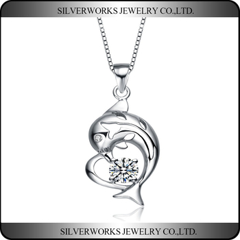 Wholesale Fashion Jewelry Silver 925 Animal Shaped Silver Dolphin Pendant